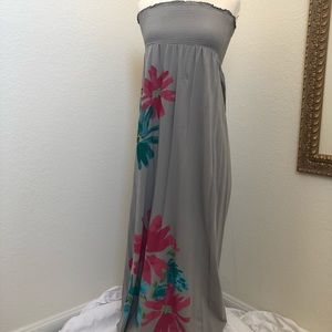 Old Navy strapless maxi dress with floral details.
